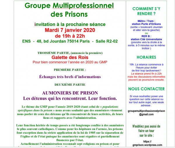 AUMONIERS en prisons, ceux qu'ils rencontrent et GALETTE des Rois MARDI 7 janvier 19h à Paris 14e