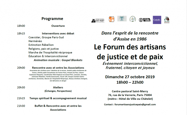 Invitation à participer au Premier Forum des artisans de Justice et de Paix dans l'Esprit d'Assise