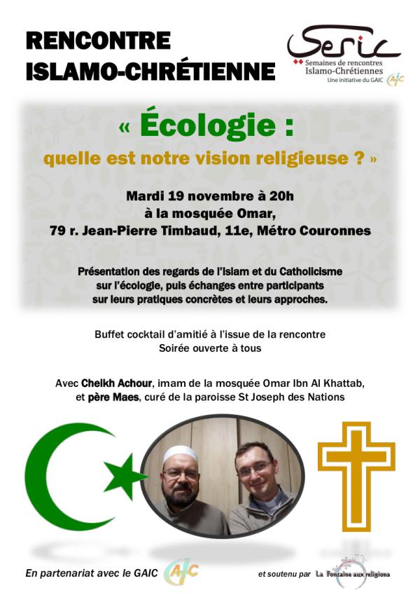 Débat islamo-chrétien avec le soutien de La Fontaine aux Religions (19 novembre 20h)