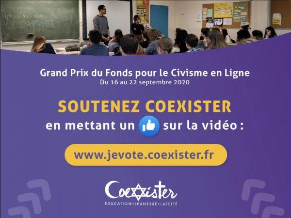 Soutenez Coexister 🏆 Grand Prix pour le Civisme en Ligne