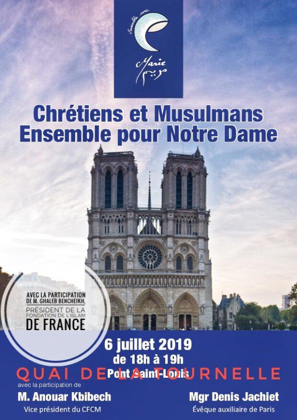 «Ensemble avec Notre-Dame de Paris» samedi 6 juillet 18h-19h sur le Quai de la Tournelle (5e)